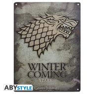 Game Of Thrones - Plaque métal Stark (28x38)