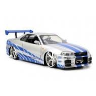 Fast & Furious - Réplique 1/32 Nissan Skyline GTR R34 2002  *argent/bleu*