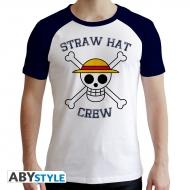 One Piece - T-shirt Skull homme MC blanc & bleu - premium