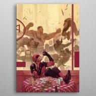Marvel - Poster en métal Deadpool Gritty Pizza Break 10 x 14 cm