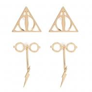Harry Potter - Pack 2 paires de boucles d'oreille Deathly Hallows & Scar and Glasses