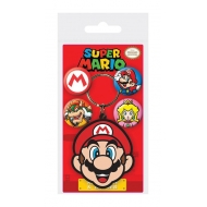 Super Mario - Porte-clés caoutchouc et badge Set Mario