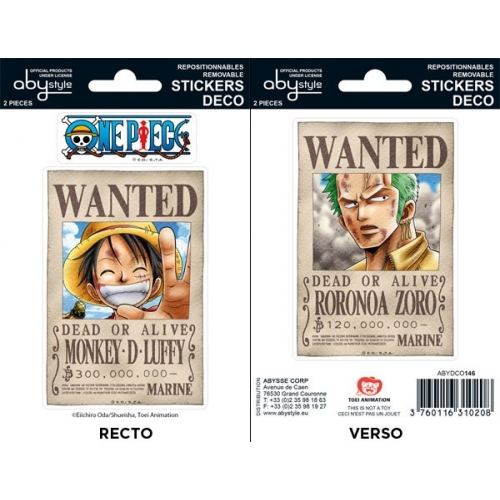 ONE PIECE - Planche de mini-stickers (16 X 11cm) Wanted Luffy / Zoro