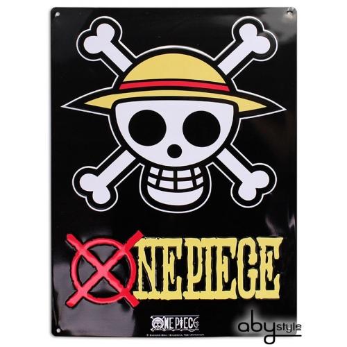 ONE PIECE - Plaque métal Skull - Luffy (28x38)
