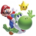 Nintendo - Sticker Géant Repositionnable Super Mario, Yoshi et Luma.