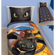 Dragons - Parure de lit réversible Toothless 135 x 200 cm / 80 x 80 cm
