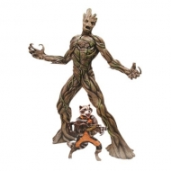 Les Gardiens de la Galaxie - Statuette PVC Action Hero Vignette 1/9 Groot & Rocket Raccoon 23 cm