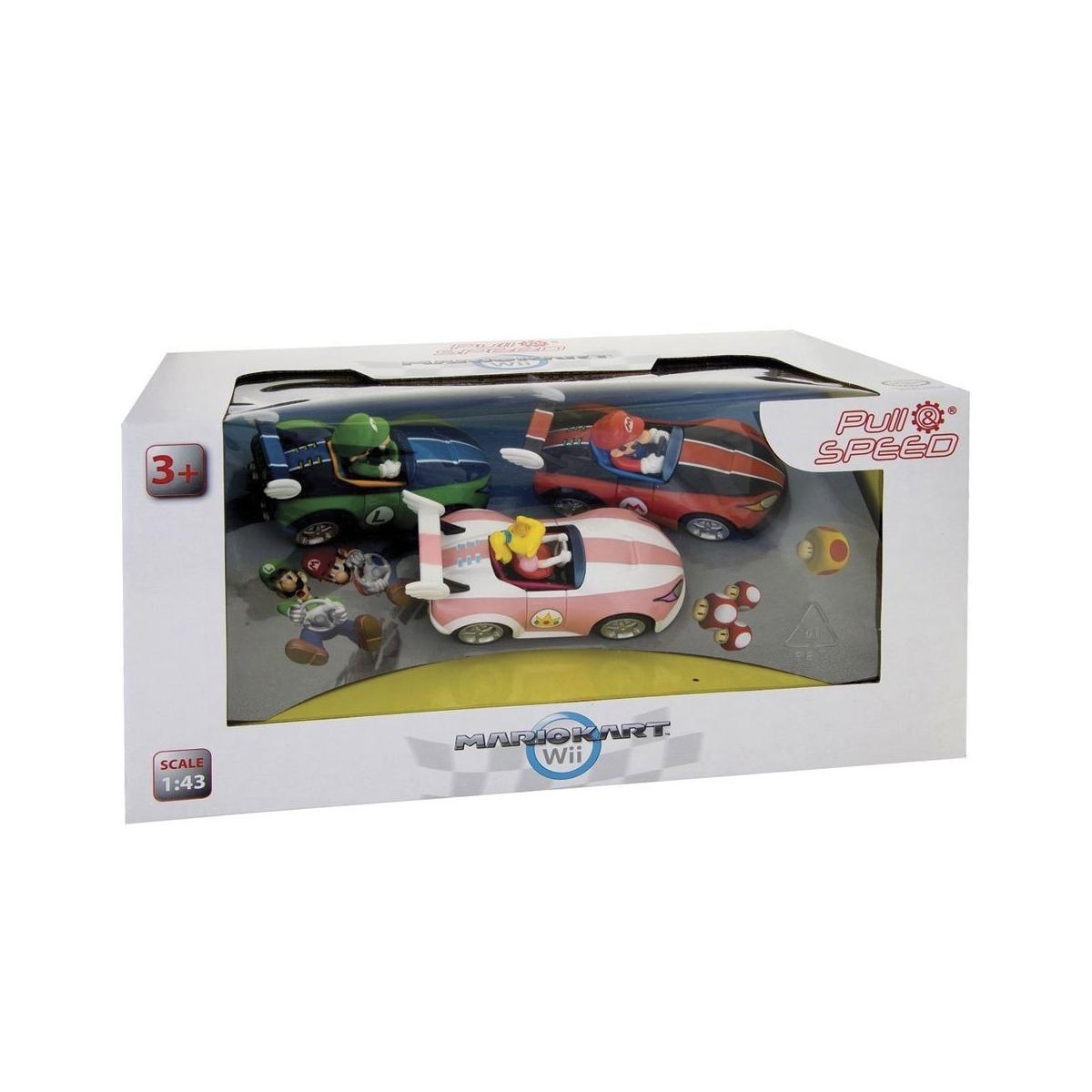 Super mario kart wii pack 3 voitures friction 1 43 mario luigi peach figurine discount - Mario kart wii voiture ...
