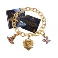 Harry Potter - Bracelet avec pendentifs plaqué or Lumos Hufflepuff