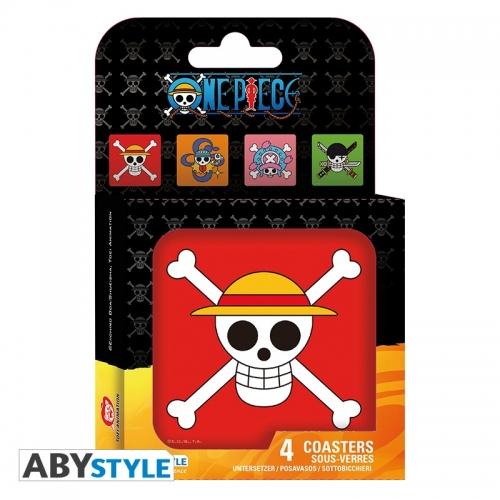 One Piece - Set 4 Dessous de verre Skulls