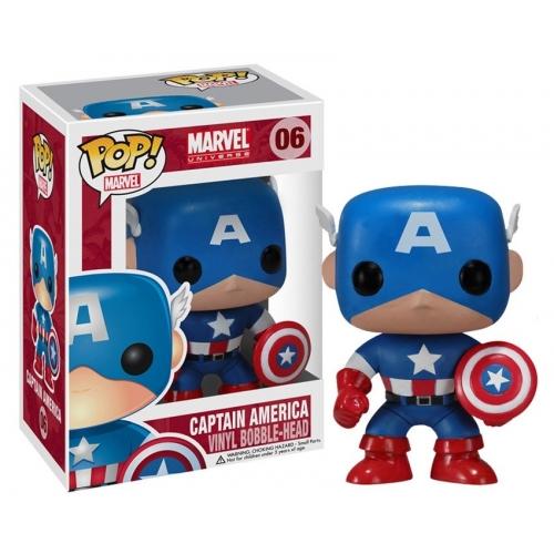 Captain America - Figurine POP! Bobble Head Captain America 10 cm
