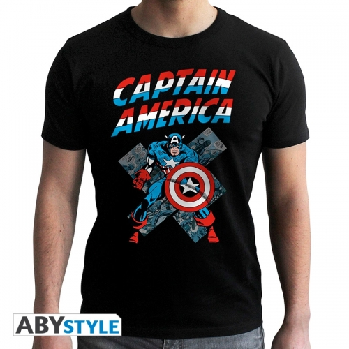 Captain America - Tshirt homme Captain America Vintage SS black