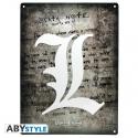 Death Note - Plaque métal L Symbol (28x38)
