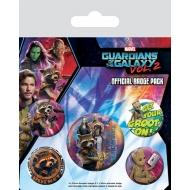 Les Gardiens de la Galaxie Vol. 2 - Pack 5 badges Rocket & Groot