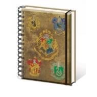 Harry Potter - Cahier à spirale A5 Hogwart's Crests