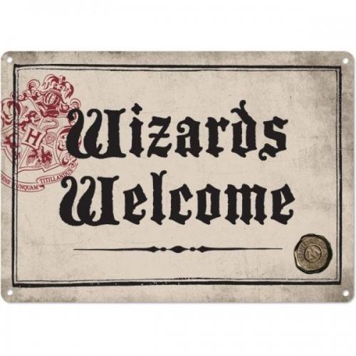 Harry Potter - Panneau métal Wizards Welcome 21 x 15 cm