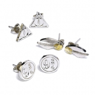 Harry Potter - Pack 3 Paires de boucles d'oreille Snitch/Deathly Hallows/Platform 9 3/4 (plaque argent)