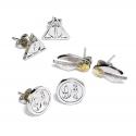 Harry Potter - Pack 3 Paires de boucles d'oreille Snitch/Deathly Hallows/Platform 9 3/4 (plaque argent)