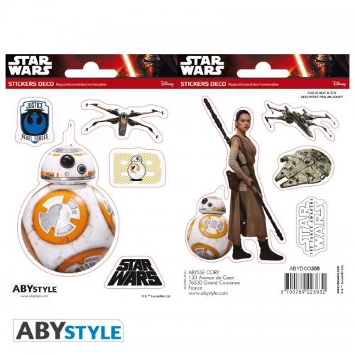 Star Wars - 2 planches Stickers BB8 Rey 16x11cm