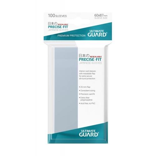 Ultimate Guard - 100 pochettes refermables Precise-Fit Sleeves format japonais Transparent