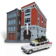 SOS Fantômes - Réplique métal 1/64 Cadillac 1959 Ecto-1 & Firehouse Diorama Set