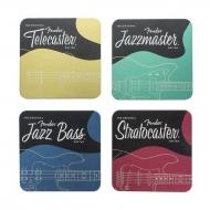 Fender - Pack 4 sous-verres Stratocaster, Jazzmaster, Telecaster & Jazz Bass Designs