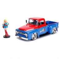 DC Bombshells - Réplique métal Hollywood Rides 1/24 Ford F100 1956 avec figurine Super Girl