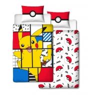 Pokémon - Parure de lit réversible Pikachu Memphis 135 x 200 cm / 48 x 74 cm