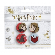 Harry Potter - Pack 4 badges Cutie Hermione & Sorting Hat & Book