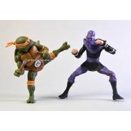 Les Tortues ninja - Pack 2 figurines Michelangelo vs Foot Soldier 18 cm