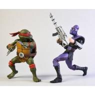 Les Tortues ninja - Pack 2 figurines Raphael vs Foot Soldier 18 cm
