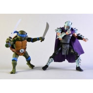 Les Tortues ninja - Pack 2 figurines Leonardo vs Shredder 18 cm