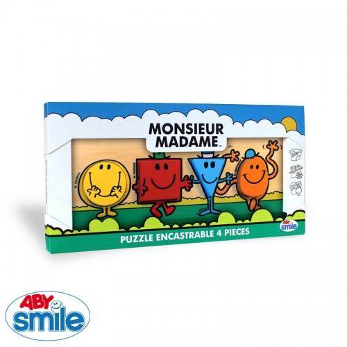 MONSIEUR MADAME - Bois - Puzzle encastrable 4 pièces