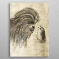 Star Wars - Poster en métal Last Jedi Sketches Chewie & Porg 32 x 45 cm