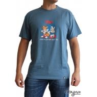 SONIC - Tshirt C'est plus fort que toi homme MC stone blue - basic
