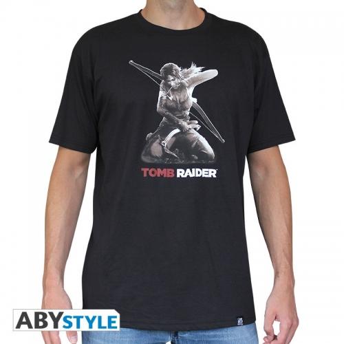 TOMB RAIDER - Tshirt Lara à genoux homme MC black used - basic