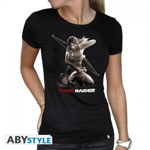 TOMB RAIDER - Tshirt Lara à genoux femme MC black - basic