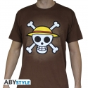 ONE PIECE - Tshirt Skull with map homme MC chocolat - limité