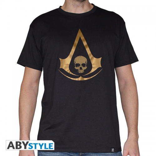 ASSASSIN'S CREED - Tshirt Crest AC4 gold homme MC black used