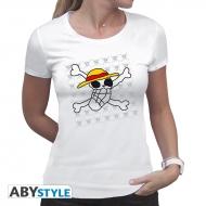 ONE PIECE - Tshirt Skull - Dessin de Luffy femme MC white - basic