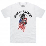 SONS OF ANARCHY - T-shirt US Flag Reaper Blanc