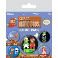 Super Mario Bros -  Pack 5 badges Super Mario Bros