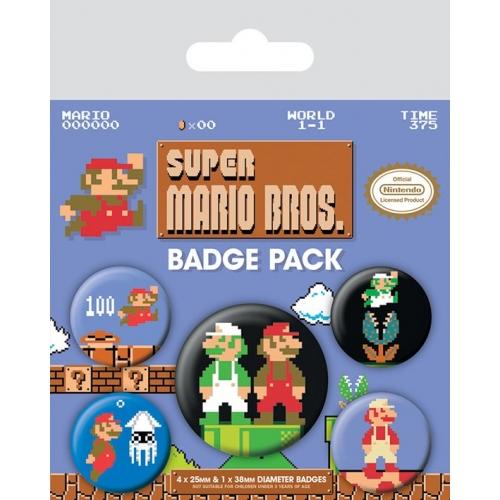 Super Mario Bros -  Pack 5 badges Super Mario Bros