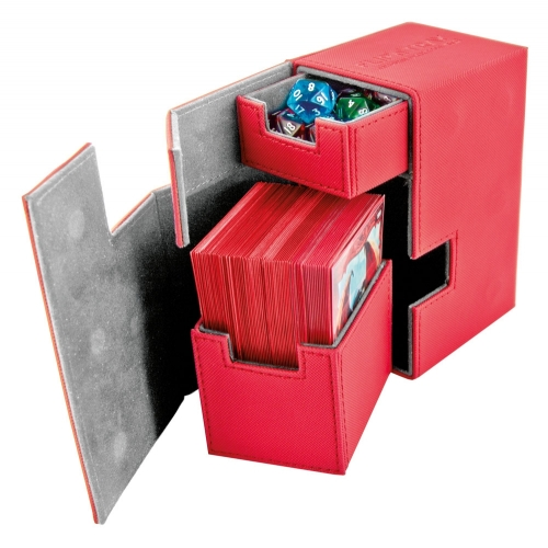 Ultimate Guard - Boîte pour cartes Flip'n'Tray Deck Case 80+ taille standard XenoSkin Rouge