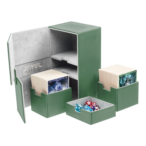 Ultimate Guard - Boîte pour cartes Twin Flip'n'Tray Deck Case 200+ taille standard XenoSkin Vert
