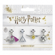 Harry Potter - Pack 4 breloques plaquées argent Snitch/Deathly Hallows/Platform 9 3/4/Love Potion
