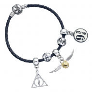 Harry Potter - Bracelet pour breloques cuir Set Deathly Hallows/Snitch/Platform 9 3/4/2 Spellbeads