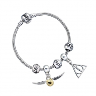 Harry Potter - Bracelet pour breloques plaqué argent Charm Set Deathly Hallows/Snitch/3 Spell Beads