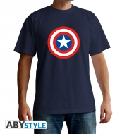 Marvel - T-shirt Logo Captain America bleu