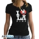 LAPINS CRETINS - Tshirt Love Lapin femme MC black - basic